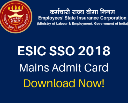 ESIC SSO Recruitment Pre Result, ESIC Mains Admit Card 2018 Download,ESIC Delhi Admit card 2018 download ,ESIC SSO Examination 2018