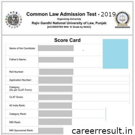 CLAT Score Card looks