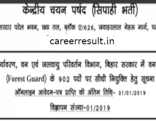 Bihar Police Forest Guard Recruitment Online Form 2019