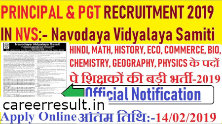 NVS Recruitment 2019 – 251 PGT Principal & Other Posts
