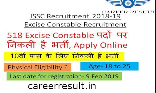 JSSC Excise Constable Recruitment Online Form 2018