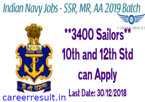 Indian Navy Sailor Recruitment 2018 – Online Form for 3400 Sailor